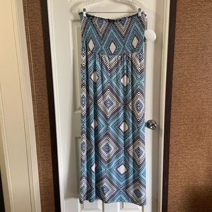 Emma & Michelle Blue Print Strapless Maxi Dress XL